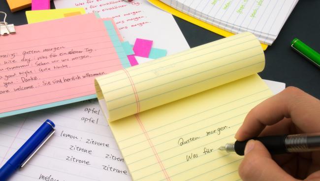 Письменное упражнение развивает немецкий язык