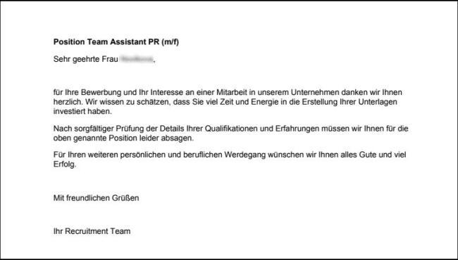 Отказ в принятии на работу по-немецки