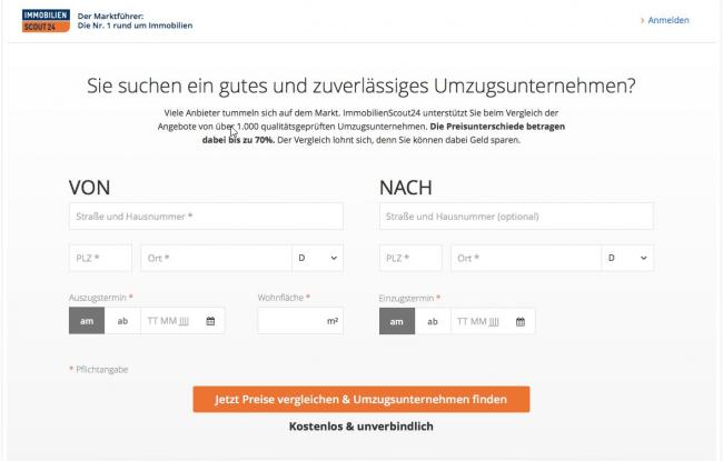 Скриншот поиск перевозчиков Immobilienscout