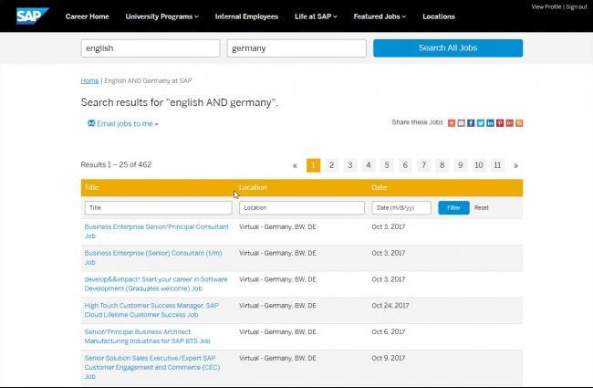 Вакансии в Германии без немецкого на сайте SAP Jobs