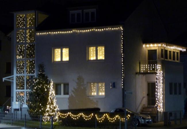 Дом в Германии ночью перед Рождеством