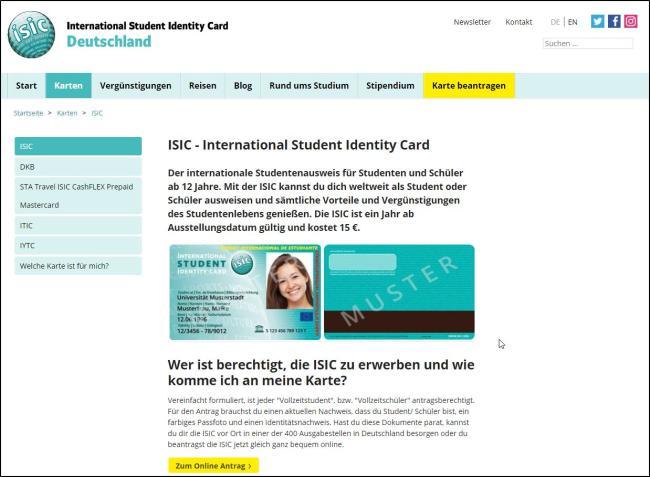 Скриншот заказ карты ISIC