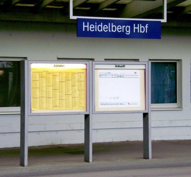 График движения поездов на вокзале Хайдельберг