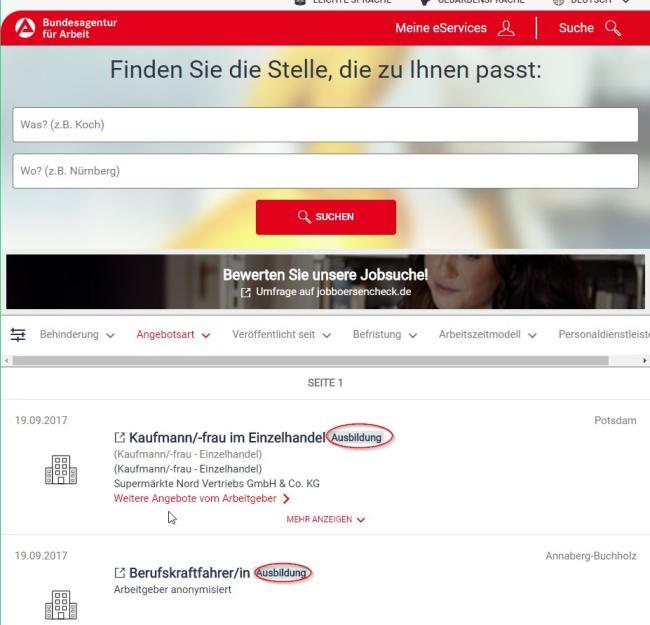 Скриншот поиск Ausbildung на сайте биржи труда